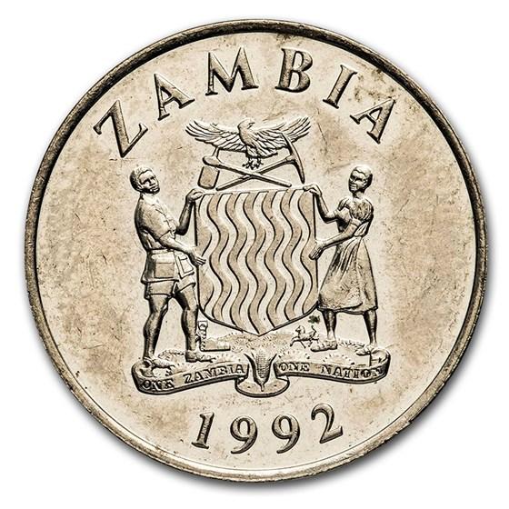 1992 Zambia 25 Ngwee Crowned Hornbill BU
