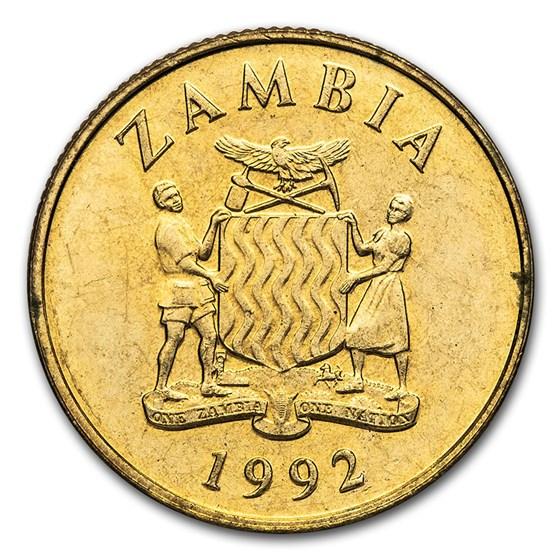 1992 Zambia 5 Kwacha National Arms/Oryx BU