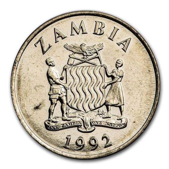 1992 Zambia 50 Ngwee Kafue Lechwe BU