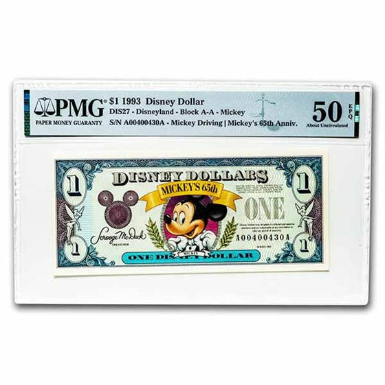 1993 $1.00 Disney World 65th Anniv. Mickey AU-50 EPQ PMG