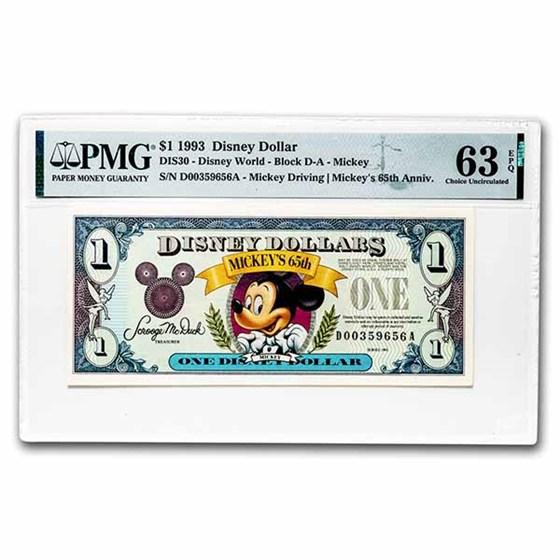 1993 $1.00 Disney World 65th Anniv. Mickey CH CU-63 EPQ PMG