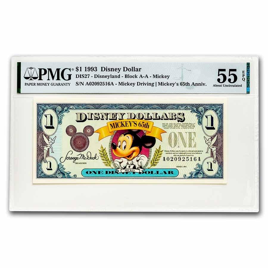 1993 $1.00 Disney World 65th Anniv. Mickey Choice AU-55 EPQ PMG