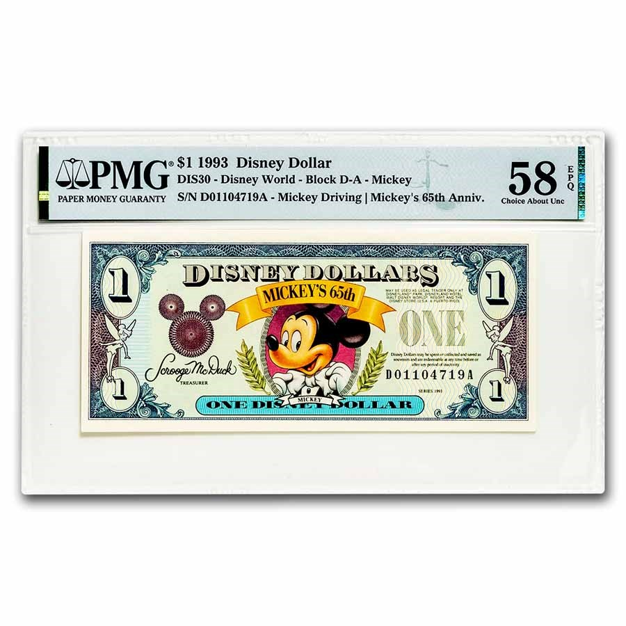 1993 $1.00 Disney World 65th Anniv. Mickey Choice AU-58 EPQ PMG