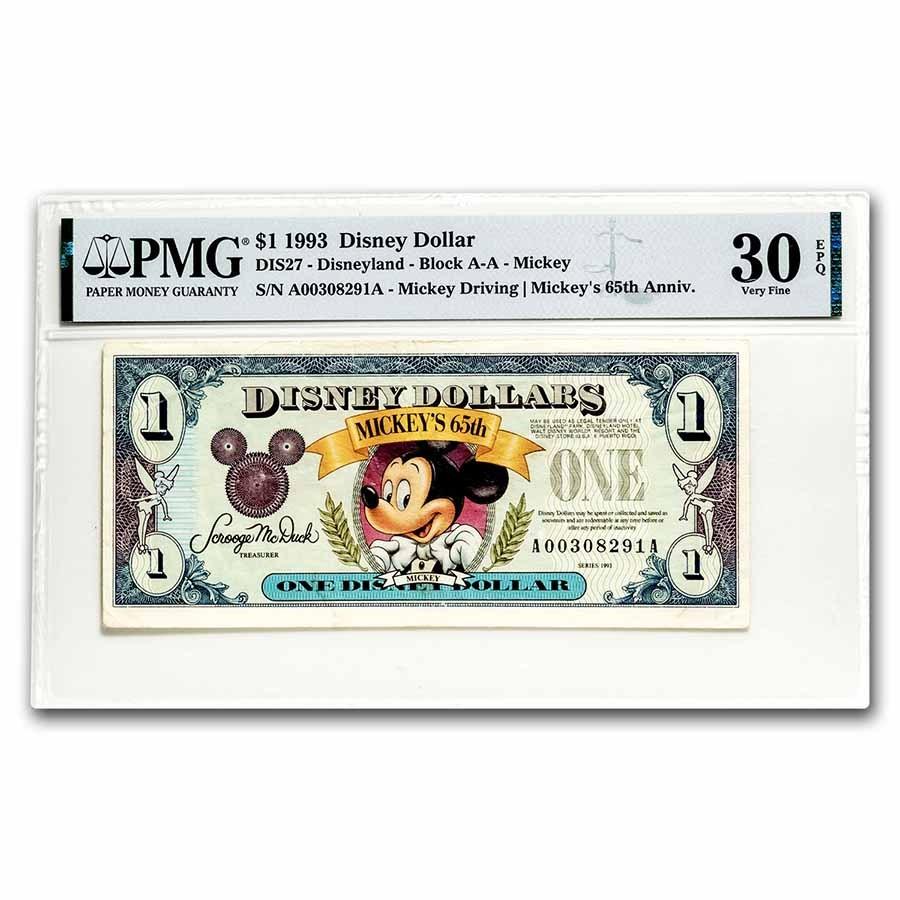 1993 $1.00 Disney World 65th Anniv. Mickey Choice VF-30 EPQ PMG