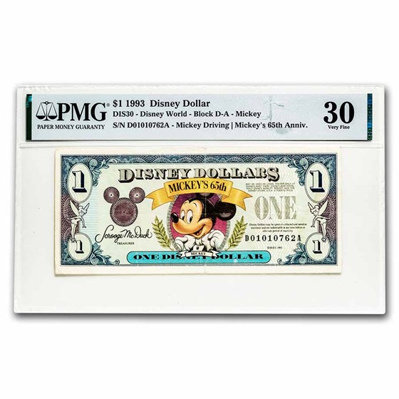 1993 $1.00 Disney World 65th Anniv. Mickey Choice VF-30 PMG