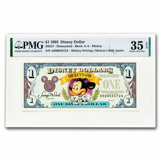 1993 $1.00 Disney World 65th Anniv. Mickey Choice VF-35 EPQ PMG
