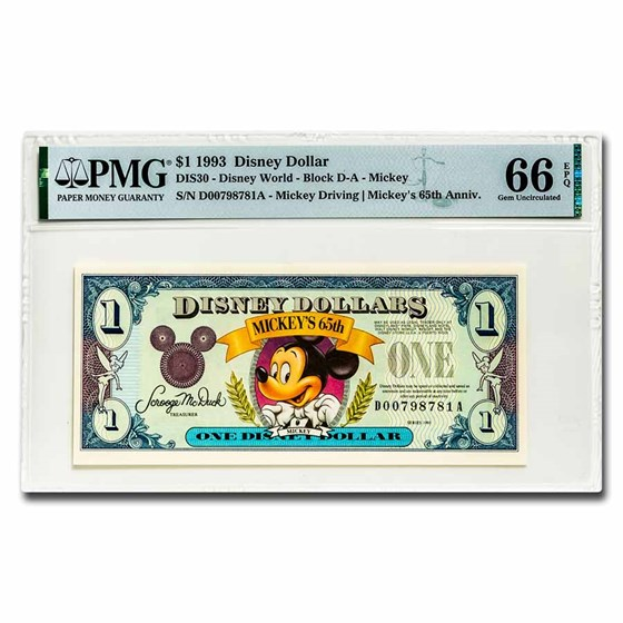 1993 $1.00 Disney World 65th Anniv. Mickey Gem CU-66 EPQ PMG
