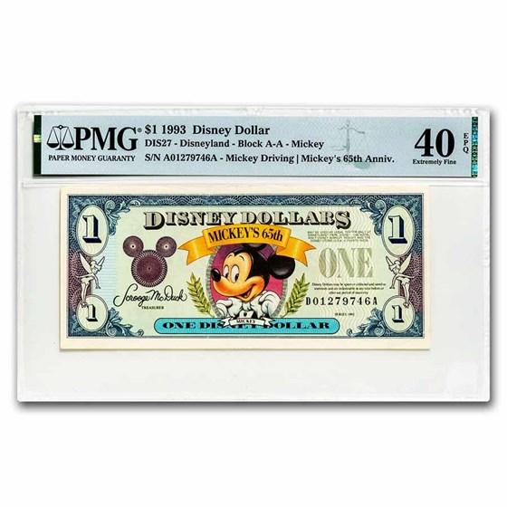 1993 $1.00 Disney World 65th Anniv. Mickey XF-40 EPQ PMG