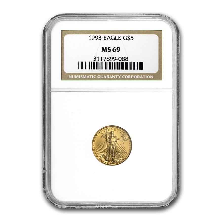 1993 1/10 oz American Gold Eagle MS-69 NGC