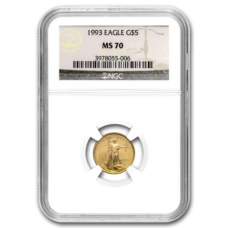 1993 1/10 oz American Gold Eagle MS-70 NGC