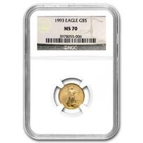 1993 1/10 oz Gold American Eagle MS-70 NGC