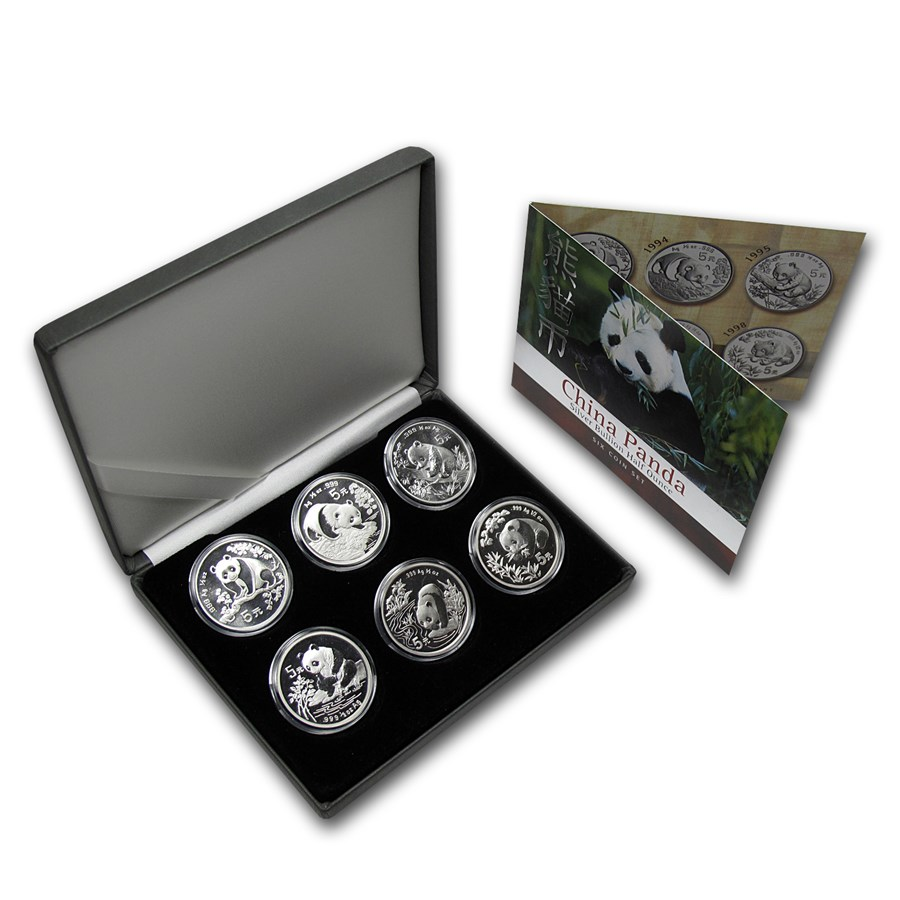 1993-1998 China 6-Coin Silver Panda 5 Yuan Set