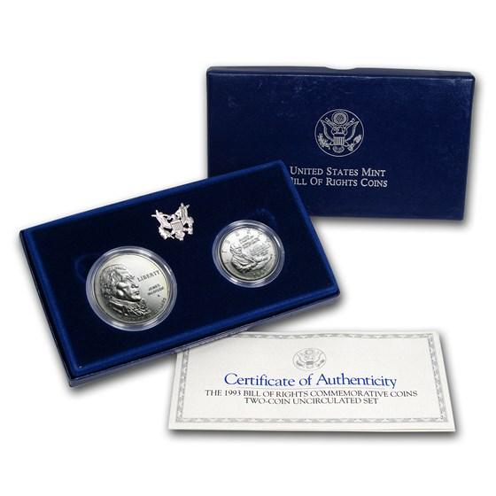 1993 2-Coin Bill of Rights Set BU (w/Box & COA)