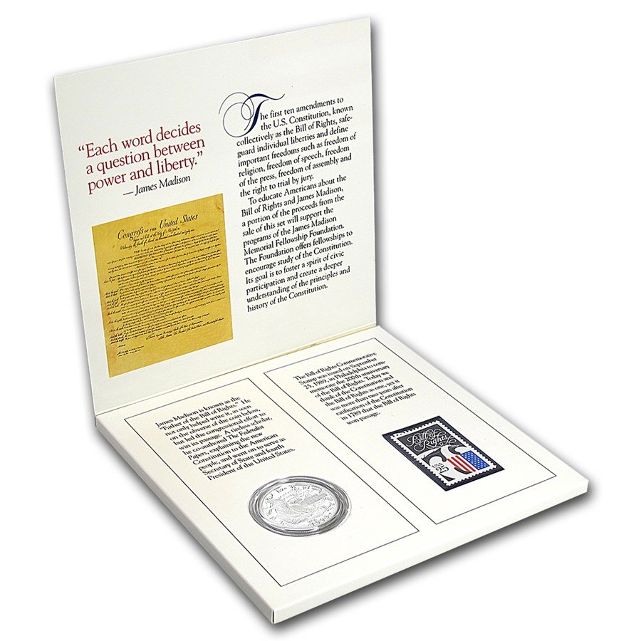 1993 2-Pc Bill of Rights Coin and Stamp Proof Set (w/Box & COA)
