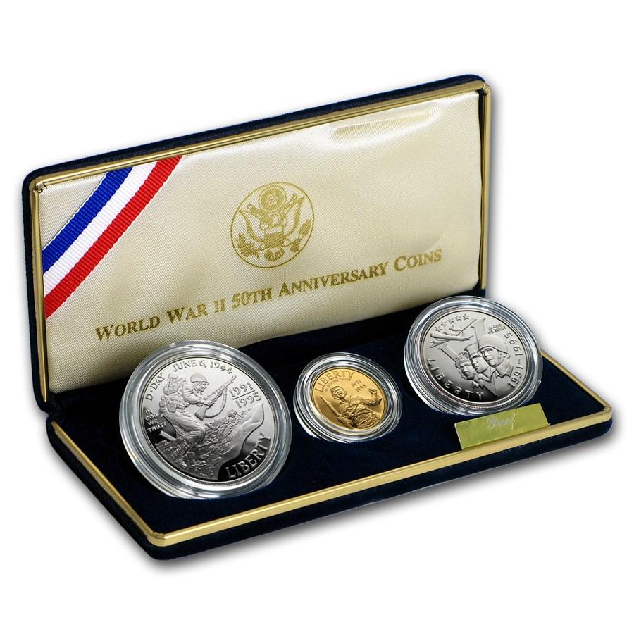 1993 3-Coin Commem World War II Proof Set (w/Box & COA)