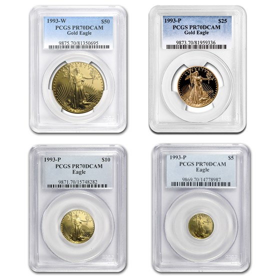 1993 4-Coin Proof American Gold Eagle Set PR-70 PCGS