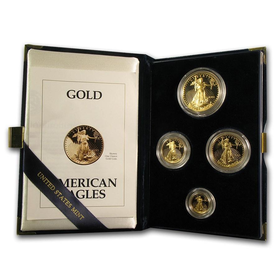 1993 4-Coin Proof American Gold Eagle Set (w/Box & COA)