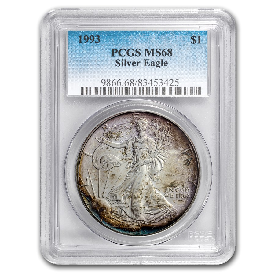 1993 American Silver Eagle MS-68 PCGS (Obv and Rev Toning)