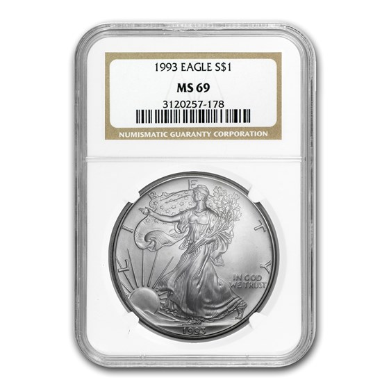 1993 American Silver Eagle MS-69 NGC