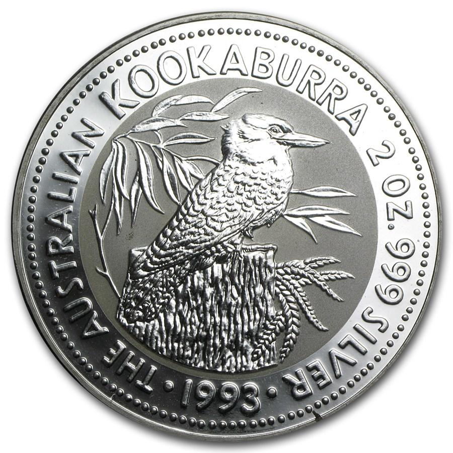 1993 Australia 2 oz Silver Kookaburra BU