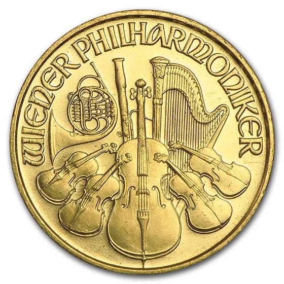 1993 Austria 1/10 oz Gold Philharmonic BU