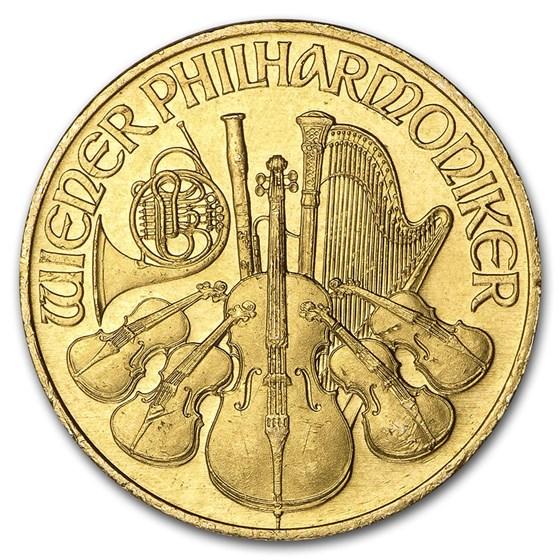 1993 Austria 1/4 oz Gold Philharmonic BU