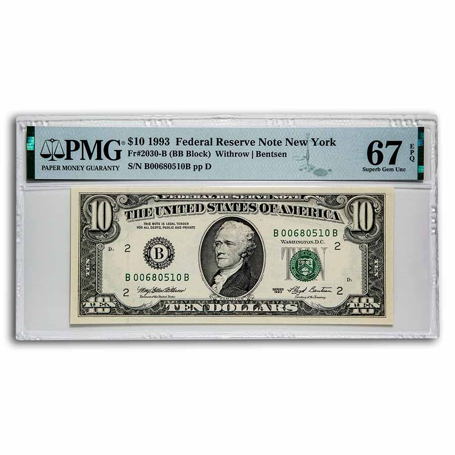 1993 (B-New York) $10 FRN Superb Gem CU-67 EPQ PMG (Fr#2030-B)