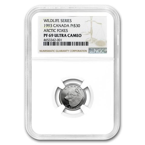 1993 Canada 1/10 oz Platinum Arctic Fox PF-69 NGC