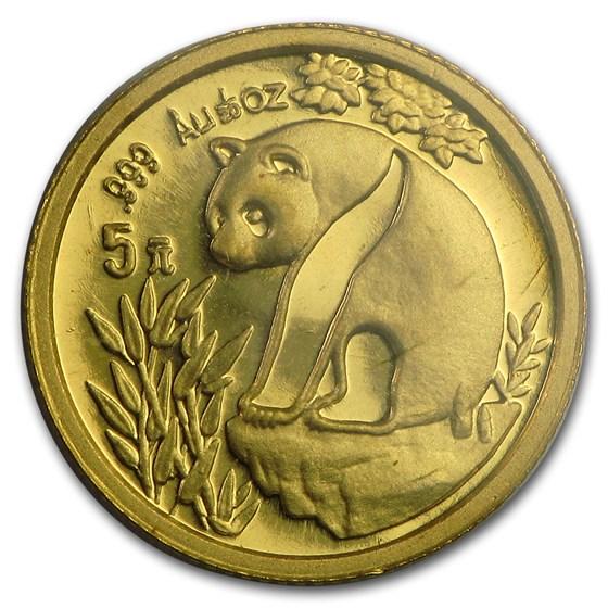 1993 China 1/20 oz Gold Panda Large Date BU (Sealed)