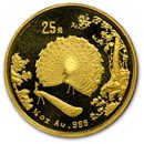1993 China 1/4 oz Gold 25 Yuan Peacock
