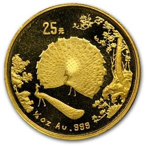 1993 China 1/4 oz Gold 25 Yuan Peacock
