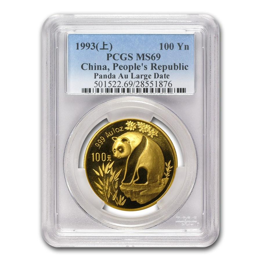 1993 China 1 oz Gold Panda Large Date MS-69 PCGS