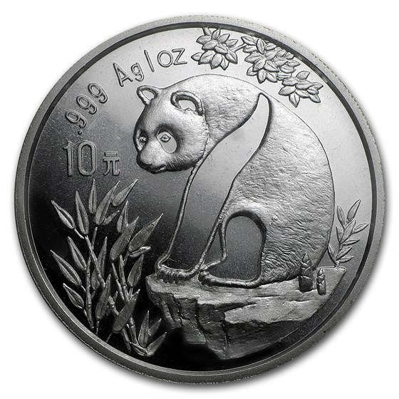 1993 China 1 oz Silver Panda Large Date BU (Sealed)