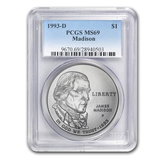 1993-D Bill of Rights-Madison $1 Silver Commem MS-69 PCGS