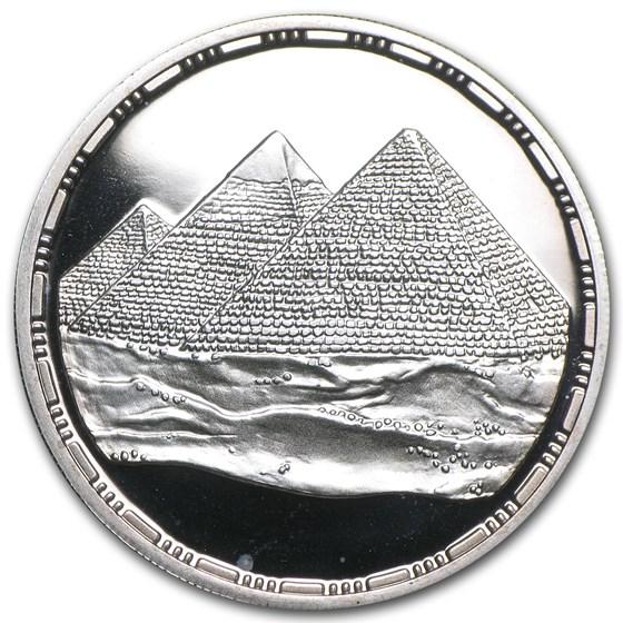1993 Egypt Silver 5 Pound Pyramids of Giza Proof