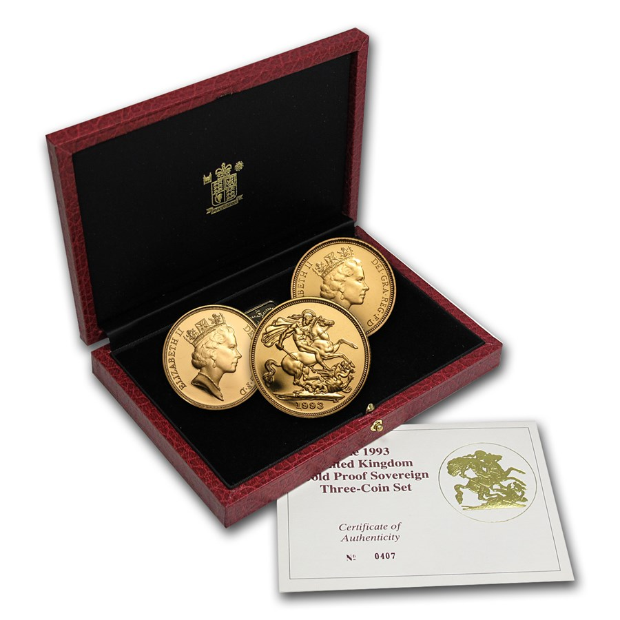 1993 Great Britain 3-Coin Gold Sovereign Proof Set
