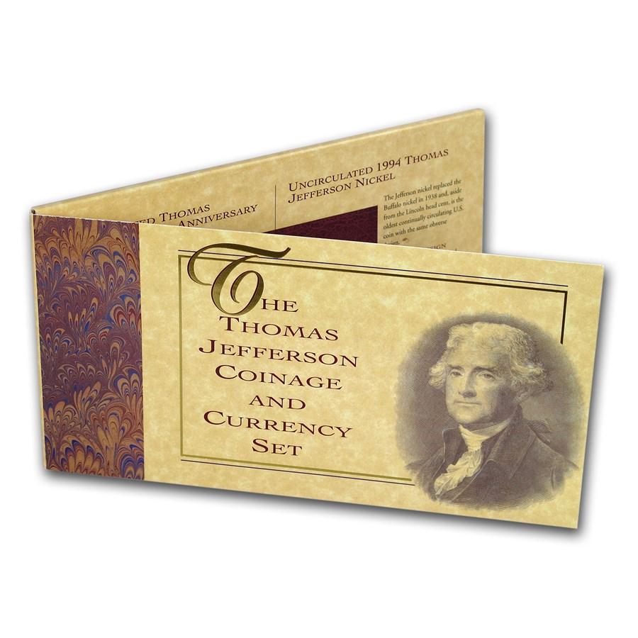 1993 Jefferson 250th Anniversary Coin & Currency Set (Box & COA)