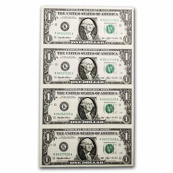 1993 (K-Dallas) $1 FRN CU (Fr#1919-K) 4 Uncut Sheet
