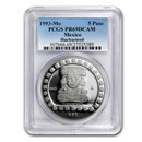 1993 Mexico 1 oz Silver 5 Pesos Huehueteotl PR-69 PCGS