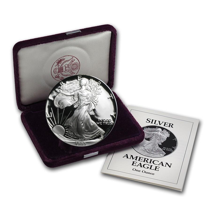 1993-P 1 oz Proof American Silver Eagle (w/Box & COA)
