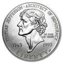 1993-P Jefferson 250th Anniv $1 Silver Commem BU (Capsule Only)
