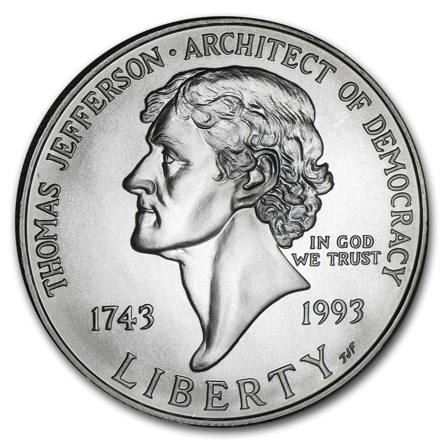1993-P Jefferson 250th Anniversary $1 Silver Commem BU (Box/COA)