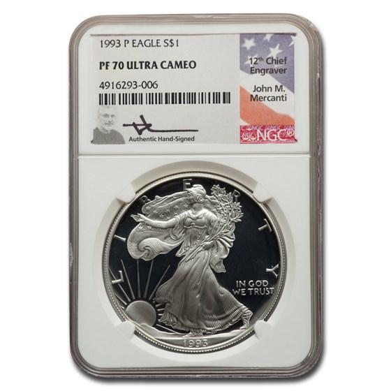 1993-P Proof American Silver Eagle PF-70 NGC (Mercanti)