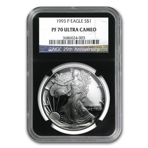 1993-P Proof American Silver Eagle PF-70 NGC (Retro Black Holder)