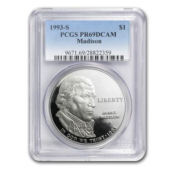 1993-S Bill of Rights-Madison $1 Silver Commem PR-69 PCGS