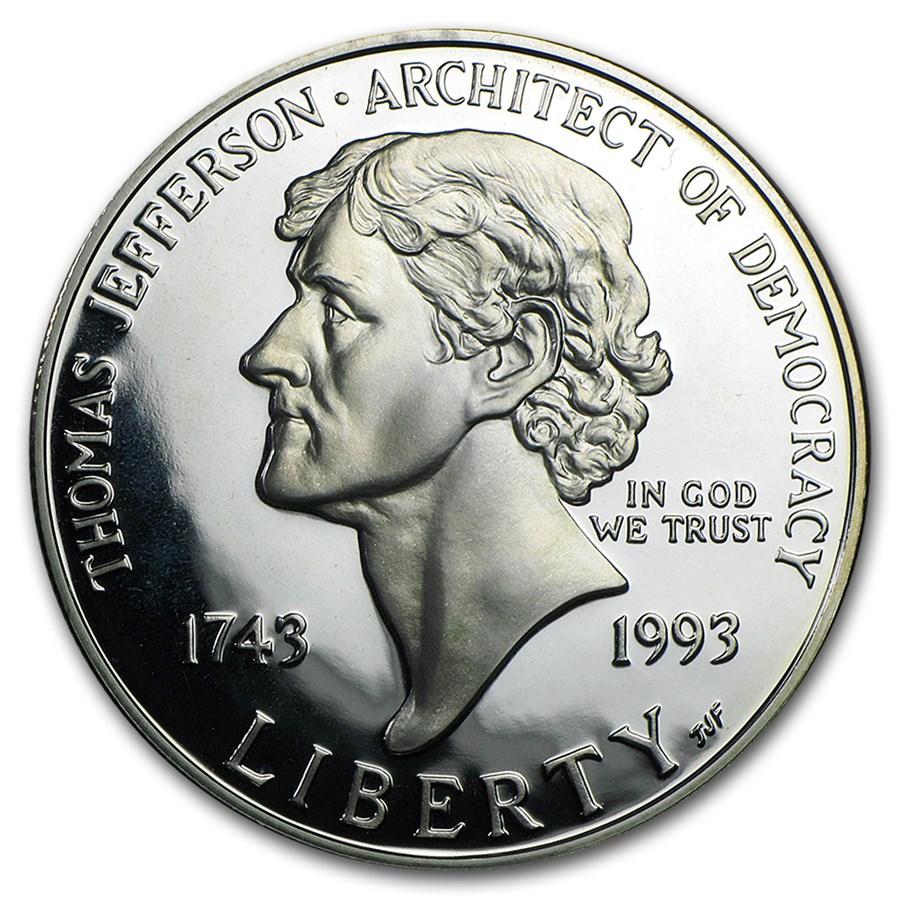 1993-S Jefferson 250th Anniv $1 Silver Commem Prf (Capsule Only)