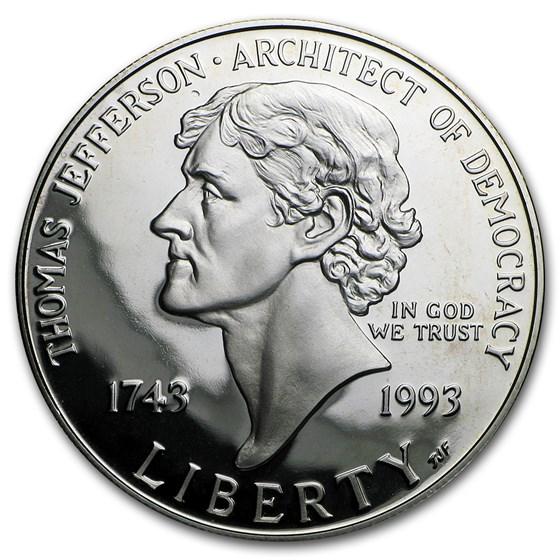 1993-S Jefferson 250th Anniv $1 Silver Commem Proof (w/Box & COA)
