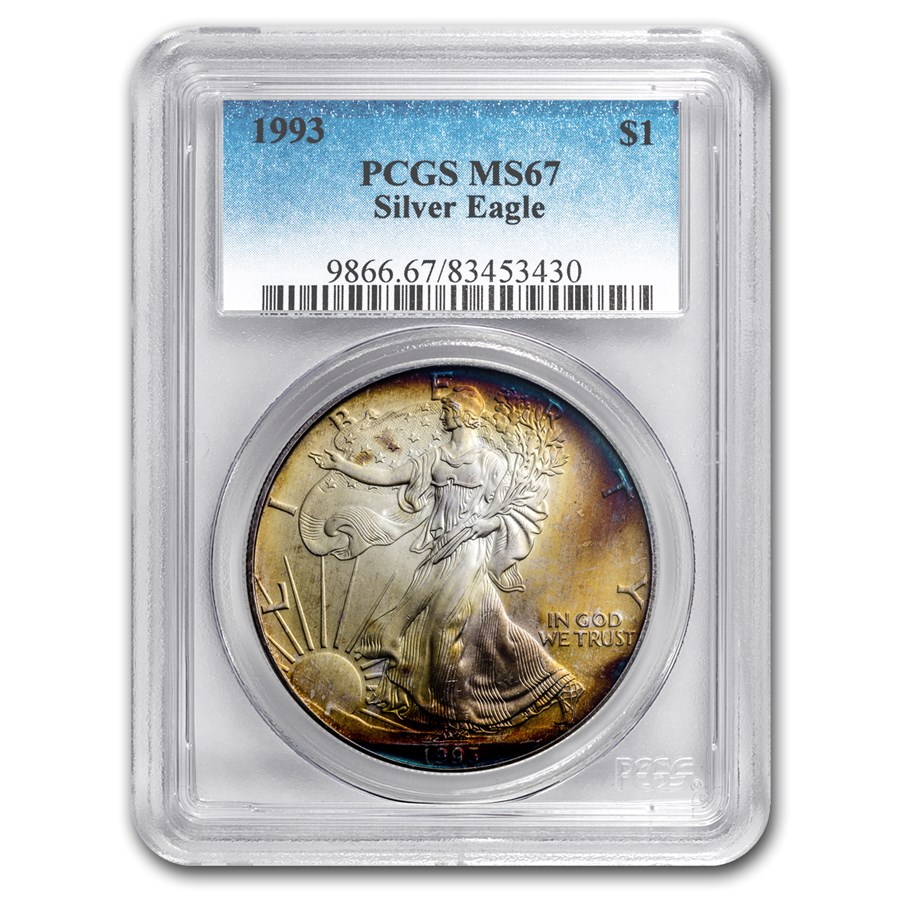 1993 Silver American Eagle MS-67 PCGS (Obv and Rev Toning)