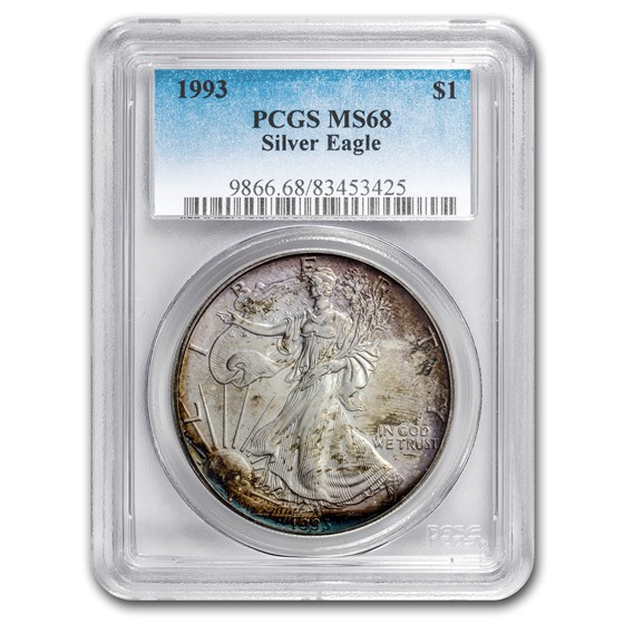 1993 Silver American Eagle MS-68 PCGS (Obv and Rev Toning)
