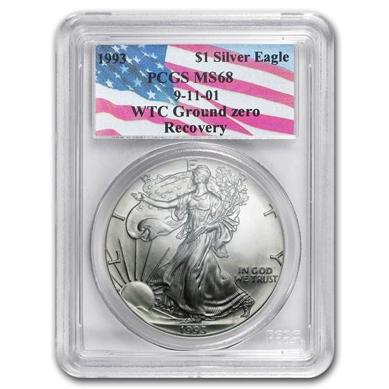 1993 Silver American Eagle MS-68 PCGS (World Trade Center)